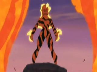 É a imagem da Amara, uma mutante do desenho x-man evolution que tinha o codinome Magma. Na foto ela está saindo de um vulcão.