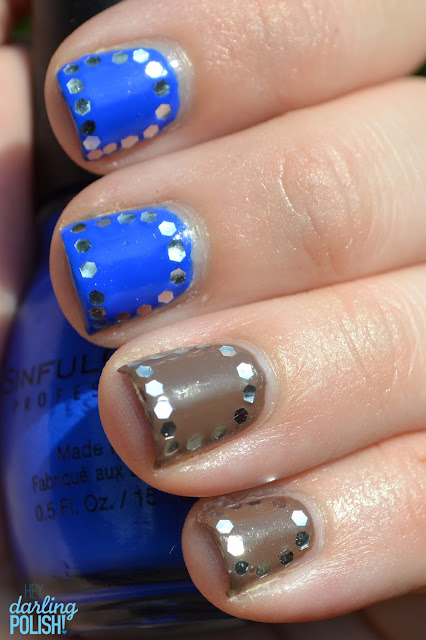 Glequins, Sinful Colors Endless Blue, Sinful Colors Nirvana, Nail Art, Nail Polish, Glitter