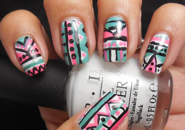 #31DC2013 Tribal Print Nails In Slate Green And Devotion