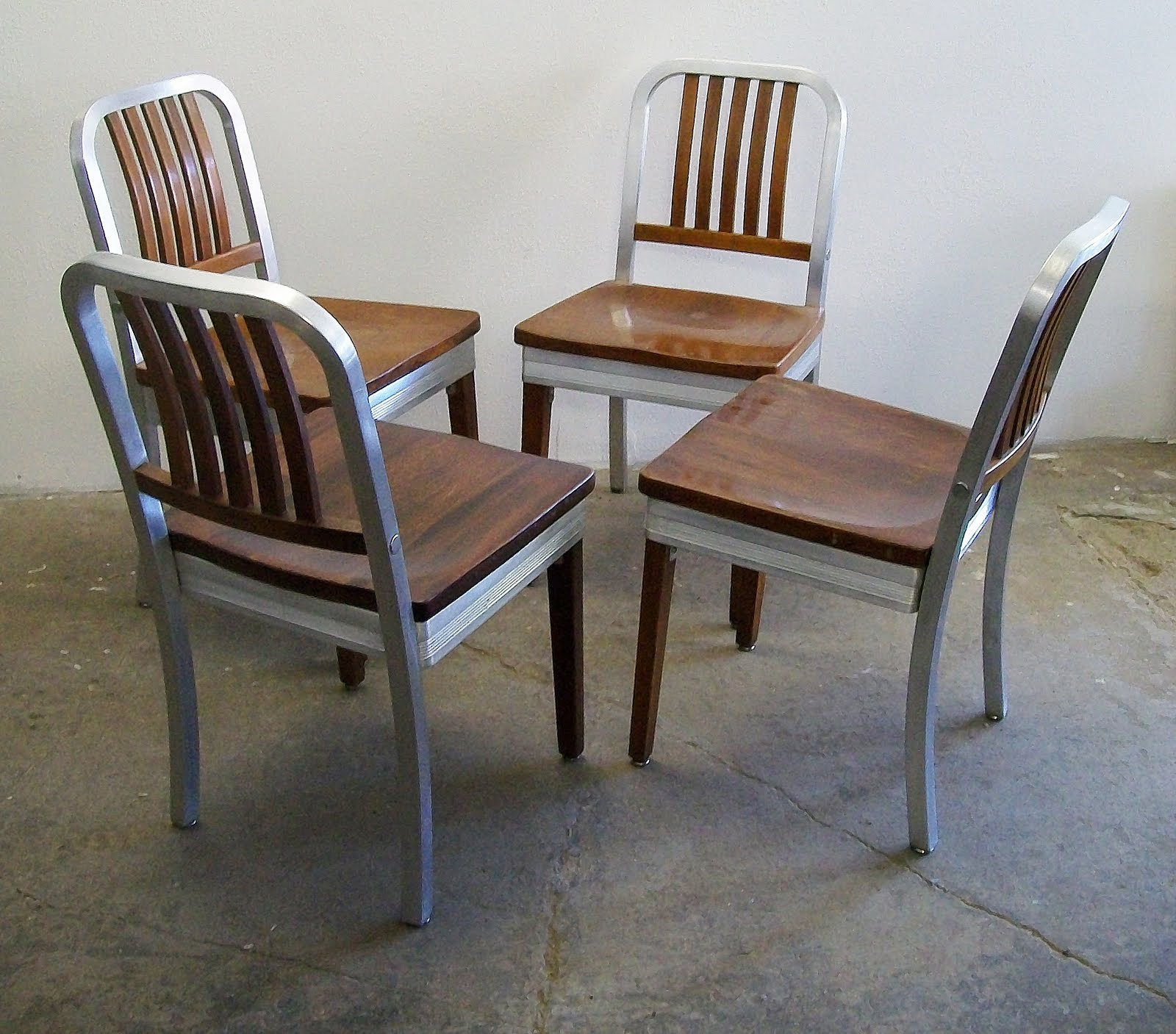 4 Shaw Walker Mid Century Aluminum & Wood Chairs