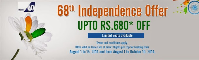 GoAir - 68th Independence Offer UpTo Rs.680*OFF