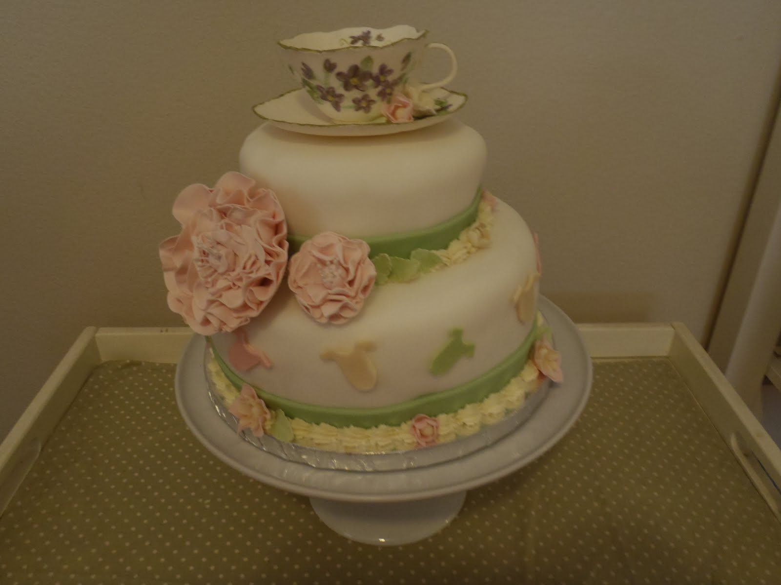 Tea Party Themed Baby Shower Cake