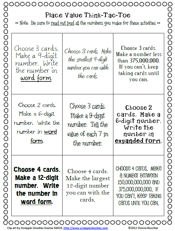 classroom freebies too  place value choice board
