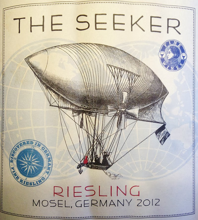 The SEEKER Riesling Mosel Germany 2012 wine bottle label air ship victorian dirigible