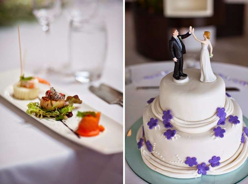 cake with bride groom toppers
