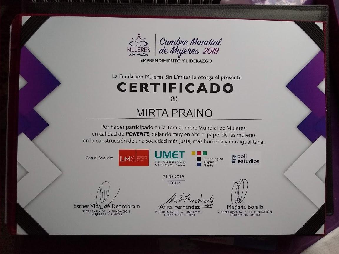 Certificado como Ponente en la Cumbre Mundial de Mujeres 2019