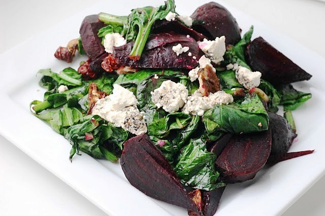 Sautéed Spinach with Roasted Beets, Sundried Tomato, Walnuts and Goat ...