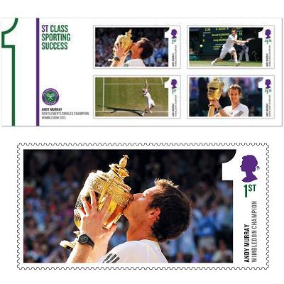 Andy Murray Wimbledon stamps /  Марки Уимблдонском турнира и Энди Маррея