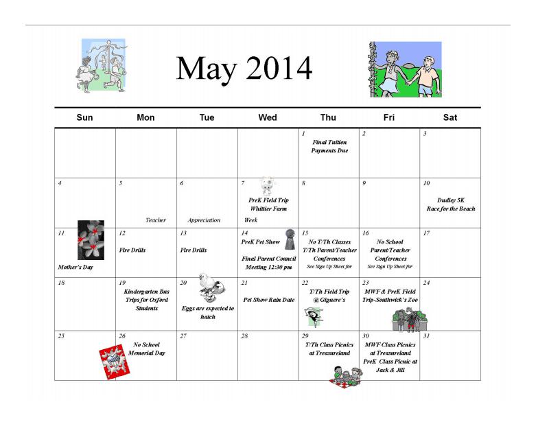 May Calendar Preschool : Jack jill preschool calendar