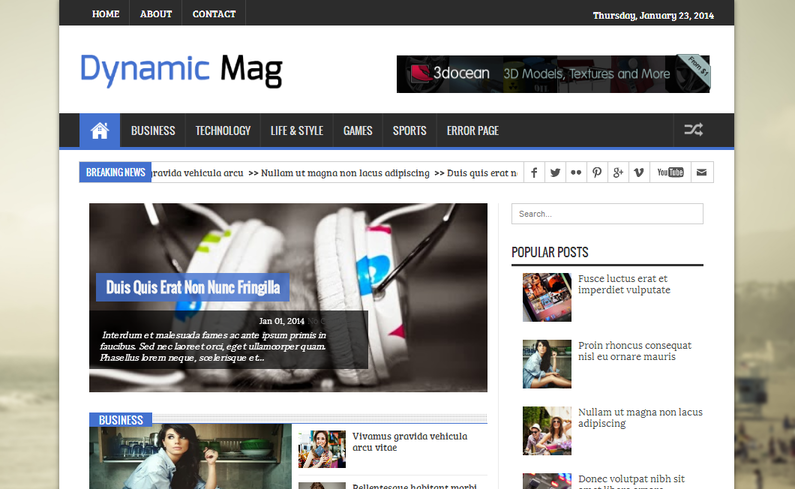 Dynamic Mag - Magazine Responsive Blogger Template