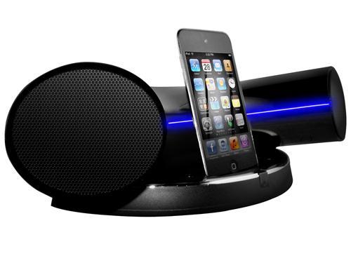 tech speakal introduces ikurv modern starship like ipod iphone docking station speaker system. Black Bedroom Furniture Sets. Home Design Ideas