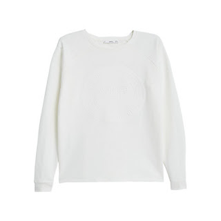 Mango printed cotton sweatshirt in natural white