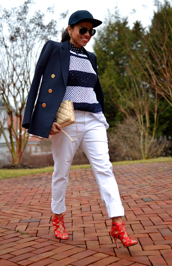 Outfit with navy and white