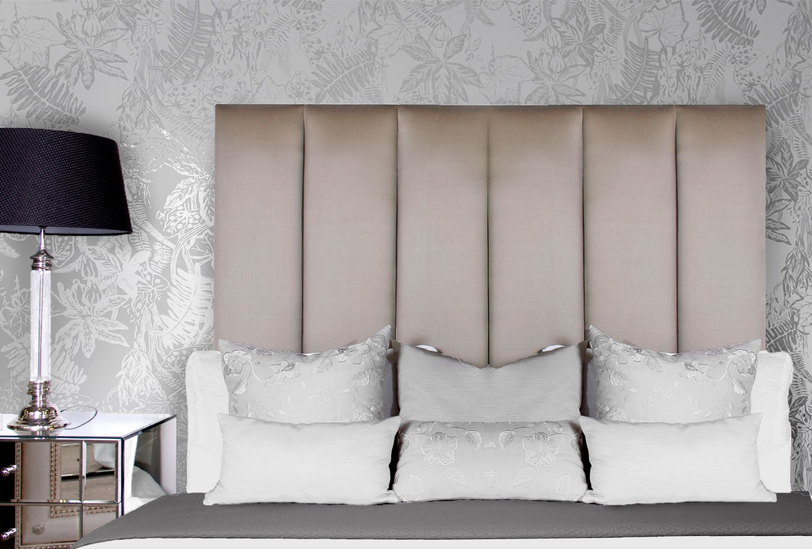 Achieve this beautiful bedroom look with a custom made bedhead like our Jasmin headboard with matching cushions and mirrored bedsides all from Bedhead Design