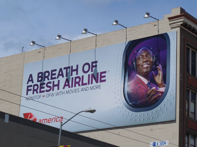 Virgin America Breath of fresh airline billboard