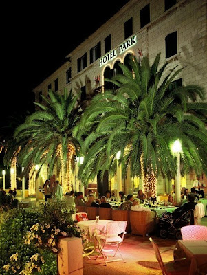 Hotel Park terrace at nightime Split