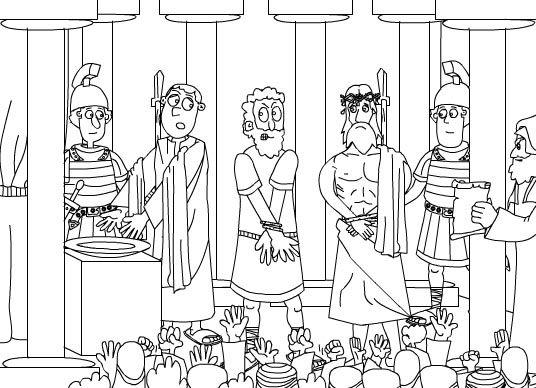 Dibujo para colorear Pilatos se lava las manos