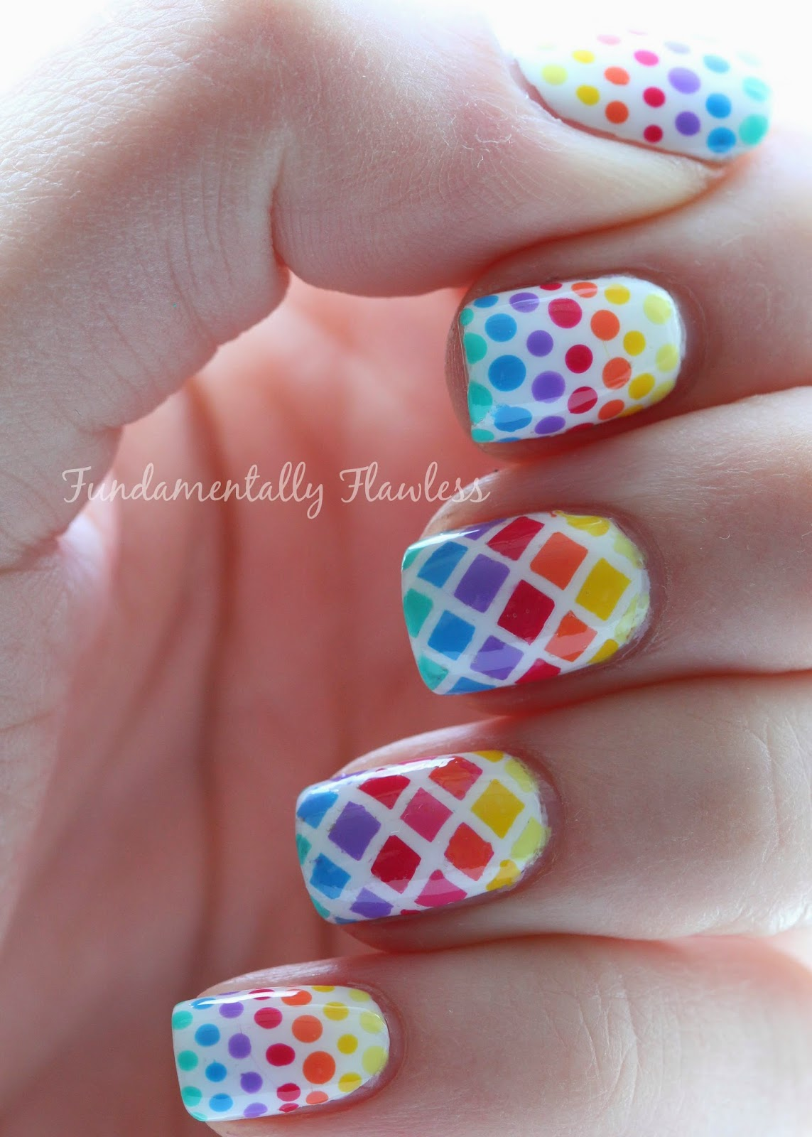 Rainbow Diamonds and Dots Nail Art with Models Own HyperGels