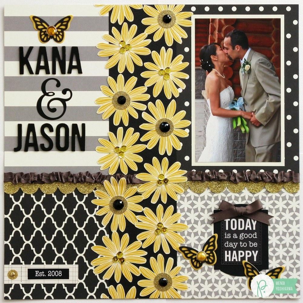 Scrapbook ideas using ribbon - A Pebbles Inc Home Made Black Yellow Wedding Layout