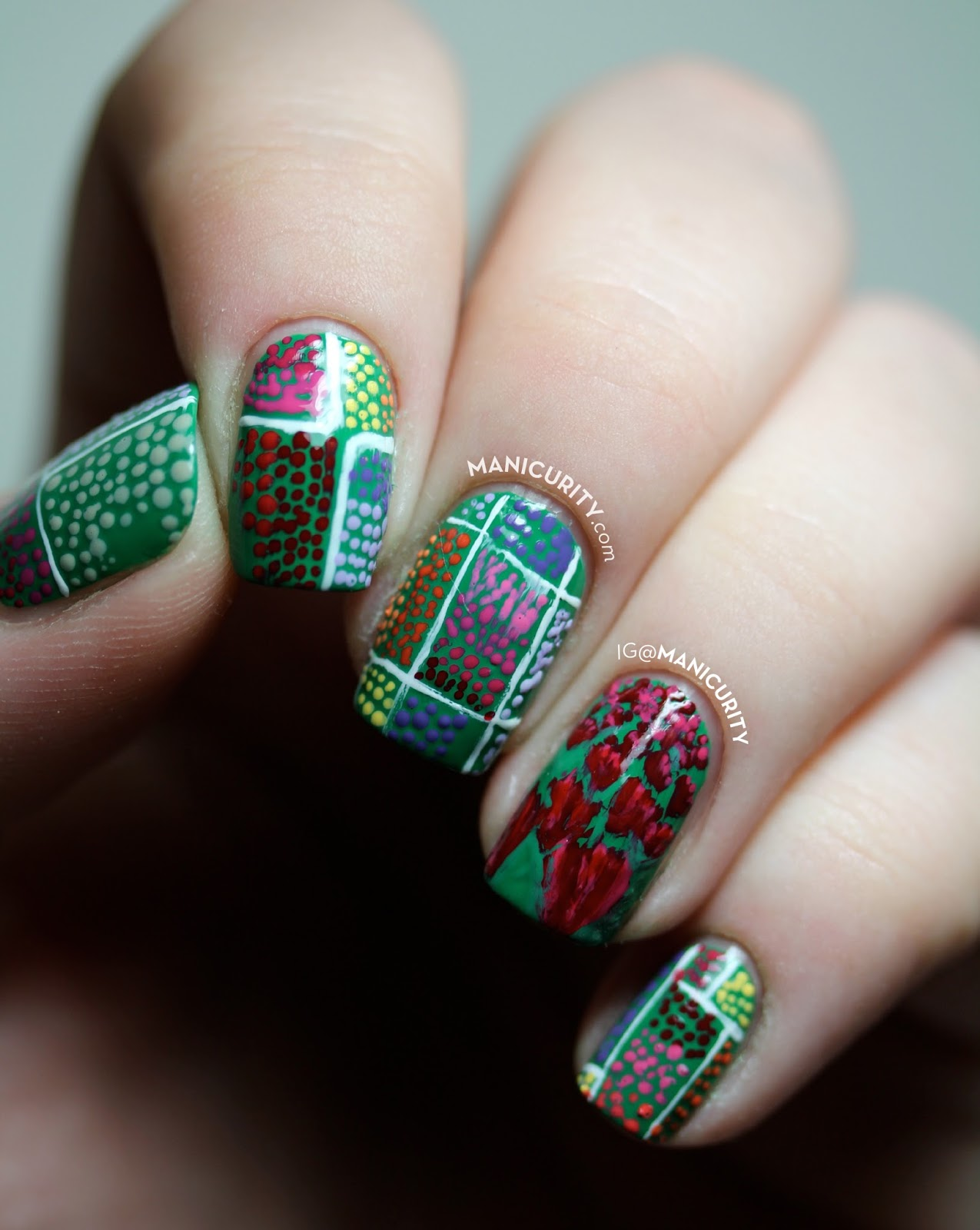 The Digit-al Dozen does Countries + Cultures with Dutch Tulip Fields - freehand floral nails colorful dotticure polka dot nail art - Manicurity.com