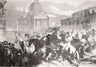 La scossa dei cavalli barberi (stampa, 1868)