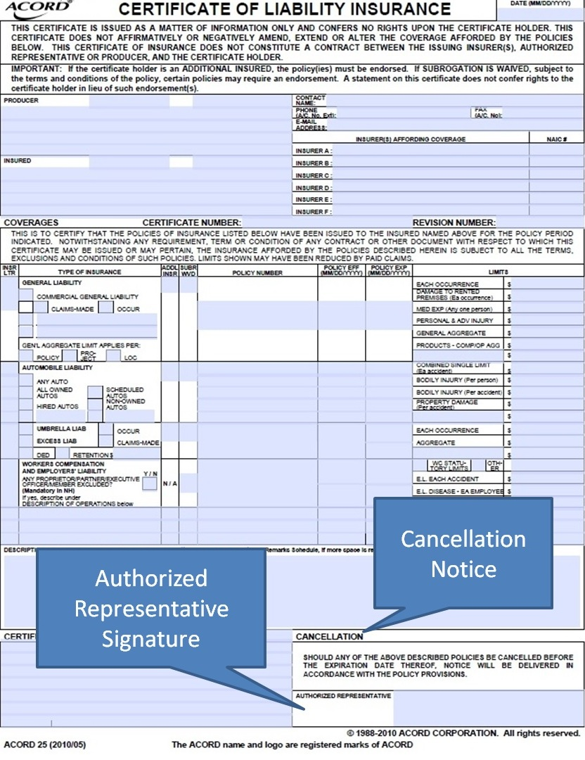 the bottom right hand corner of the acord 25 form has wording on cancellation notices and a space for an authorized signature - Acord Cancellation Form