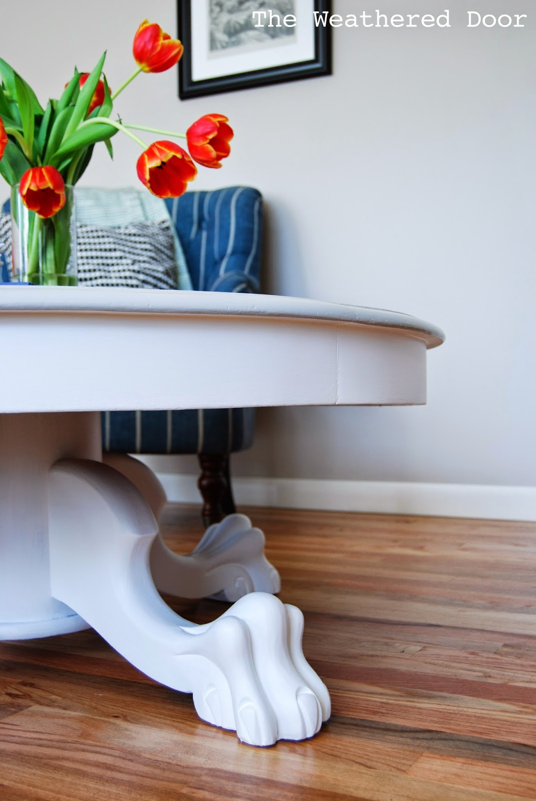 Grey And White Claw Foot Pedestal Coffee Table