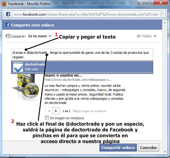 Imagen explicativa de cómo compartir el comentario realizado para el sorteo de cestas culturales de Doctortrade en Facebook