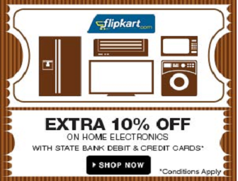 Flipkart: Buy Extra 10% Cashback with State Bank Cards on Home Electronics & Exclusive Launch of Alcatel Onetouch Flash Phone