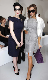 Victoria and Dita Von Teese at the Roland Mouret Haute Couture