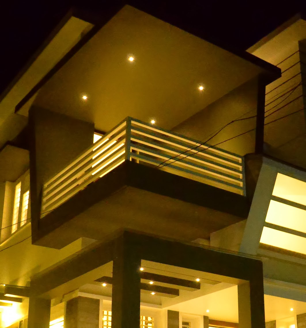 Real full work completed house in kerala home kerala plans for Balcony living room design