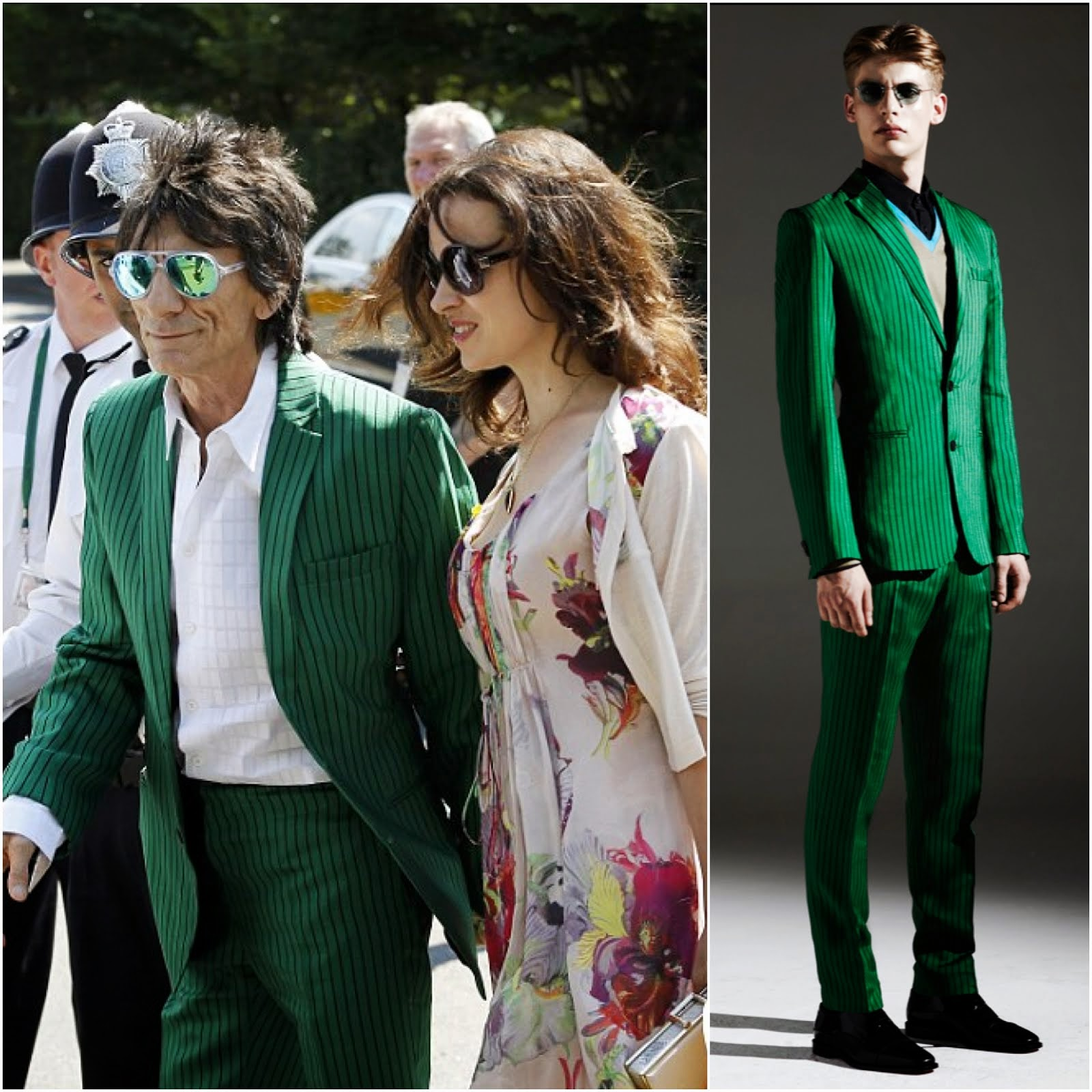 00O00 Menswear Blog: Ronnie Wood in Jonathan Saunders green striped suit and Ray-Ban transparent clear aviators with green reflective mirror lens - Wimbledon 2013 Finals