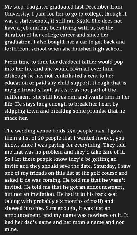 Horror wedding story