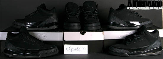 Air Jordan 3 Retro Black Cat Black Dark Charcoal Black shoes
