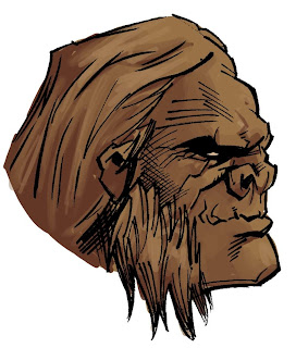 Bigfoot Sword of the Earthman barbarian comic book character head design