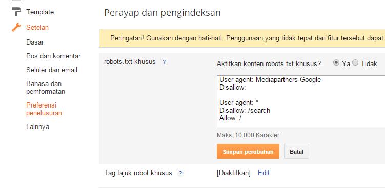 Setting Robot.txt di blogspot
