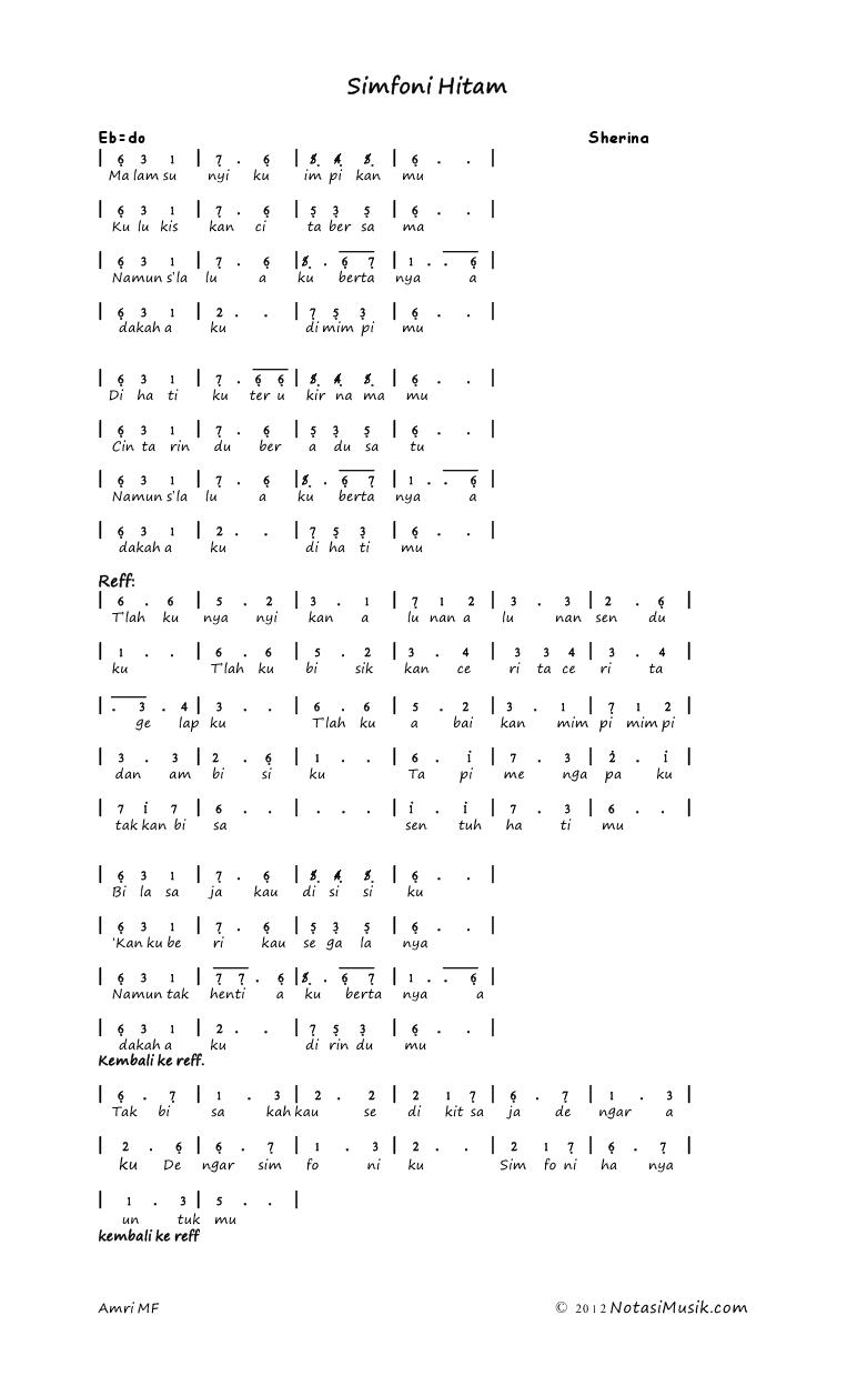 not angka simfoni hitam sumber:www.notasimusik.com