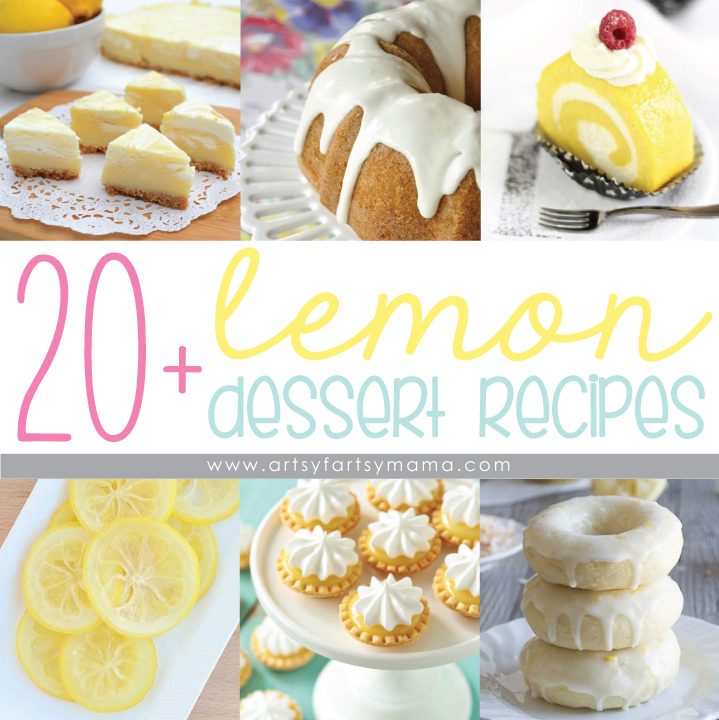 20+ Lemon Dessert Recipes at artsyfartsymama.com #lemon #dessert #recipes