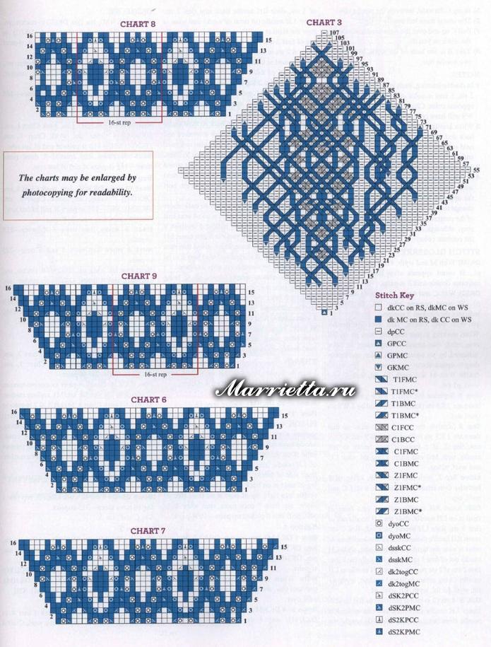 Схемы для двустороннего вязания 25