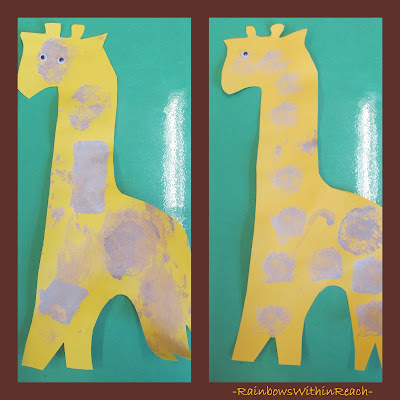 photo of: Preschool 'stamped' Giraffes (with wigglie eyes)