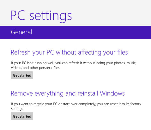 factory reset Windows 8