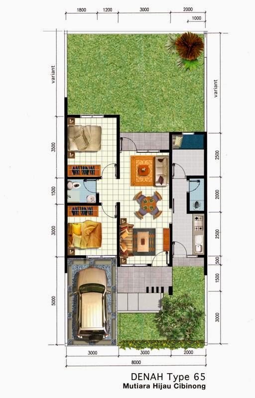 contoh desain denah rumah minimalis 3 kamar tidur