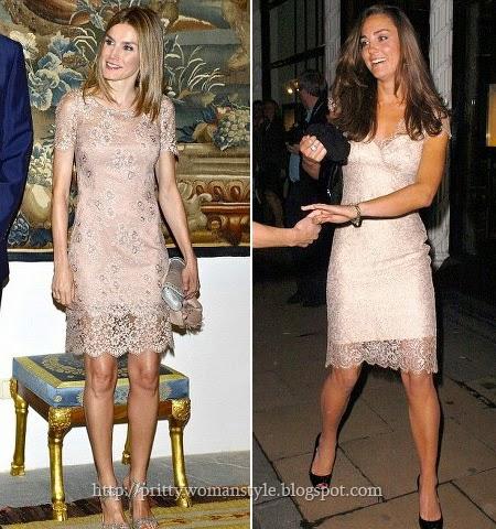 Летисия Ортис и Кейт Мидълтън в еднакви прозрачни рокли