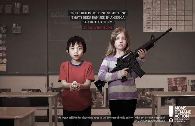 Moms Demand Action print campaign - Kinder Egg vs. assault weapon