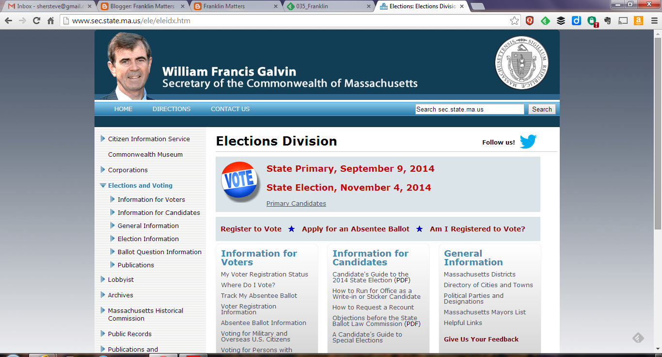 Sec of the Commonwealth's Elections page