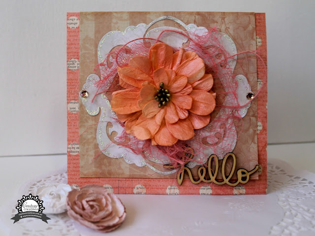 Hello card for Couture Creations by Bernii Miller using the Vintage Rose collection and nesting dies.