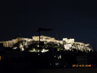 View of Acropolis at night from Best Western Amazon