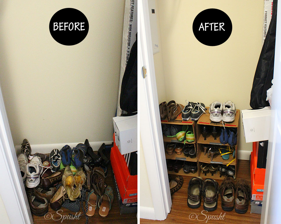 Before: Pile Of Shoes | After: Organized Shoes