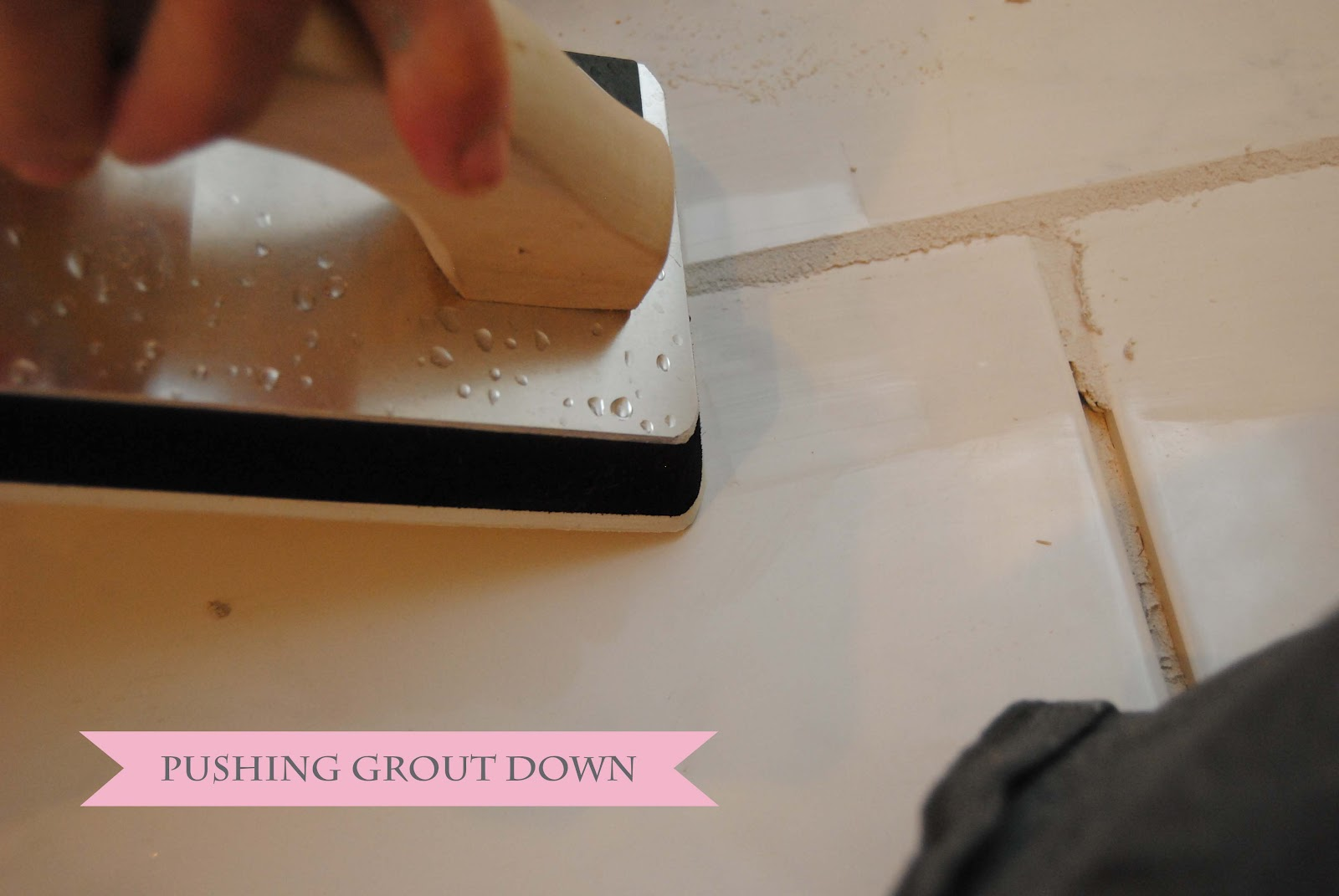 Visual eye candy how to tile a herringbone floor part i - Then Grab A Sponge And Dip It In A Bucket Of Clean Water Ring Out Most Of The Water And Run Along The Top Of The Grout