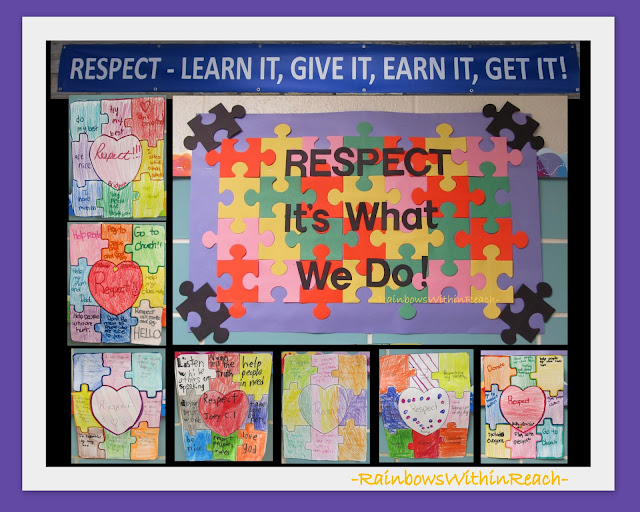 photo of: Bulletin Board on Respect with Student's Puzzle Artwork